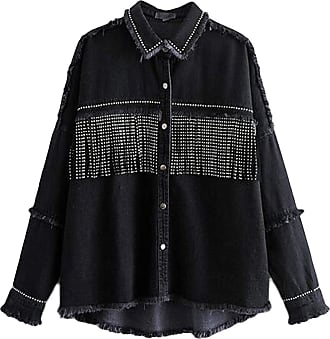 VITryst Womens Lapel with Button Long Sleeve Sequined Tassels Jacket Asymmetrical Hem Casual Jacket Tops,Black,X-Small