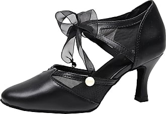 Find Nice Women Latin Dance Shoes Swing Ballroom Party Mid Heel Ankle Straps Pointed Toe Black 6.5 UK