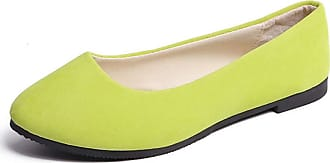 Vdual Ladies Slip On Flat Comfort Walking Ballerina Shoes Summer Loafer Flats UK 2.5-UK 8.5 Yellow Green