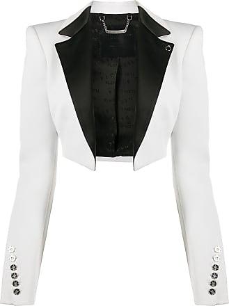 Philipp Plein cropped tuxedo bolero jack - White