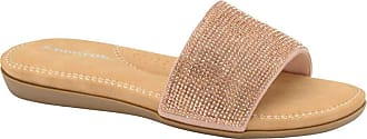 Dunlop Ladies Flip Flops Memory Foam Slip On Beach Sandals (Eleanor Rose Gold, Numeric_8)