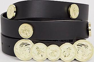 Asos Curve ASOS DESIGN Curve - Cintura per fianchi e vita con monete e borchie nero e oro