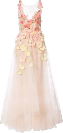 Marchesa floral embroidered flared dress - Pink