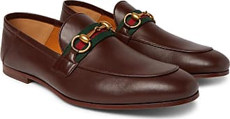 79bda5691 Gucci Brixton Webbing-trimmed Horsebit Collapsible-heel Leather Loafers -  Brown