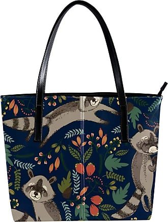Nananma Womens Bag Shoulder Tote handbag with Cute Raccoon Print Zipper Purse PU Leather Top-handle Zip Bags