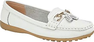 Boulevard Camilla Ladies Leather Tassle Loafers White UK 7
