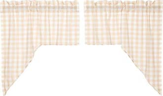 VHC Brands Classic Country Farmhouse Kitchen Window Curtains - Annie Buffalo Check White Lined Swag Pair, Tan