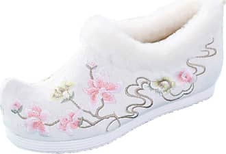 ICEGREY Womens Chinese Style Embroidered Mary Jane Shoes Fleece Loafers White-2 8.5
