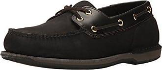 Rockport Mens Perth Boat Shoe, Black/Bark, 6 3E US