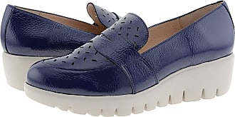 Wonders C-33208 Leather Wedge Shoes Cushioned Insole Size: 5 Color: Navy