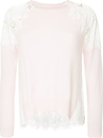 Onefifteen floral lace patch sweater - PINK
