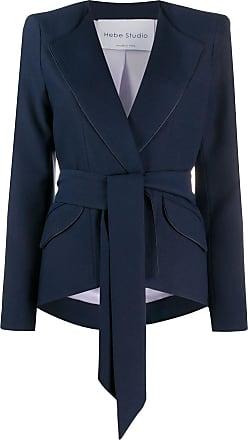 Hebe Studio Blazer com ombros estruturados e amarração na cintura - Azul