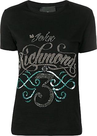 John Richmond Camiseta com logo e paetês - Preto