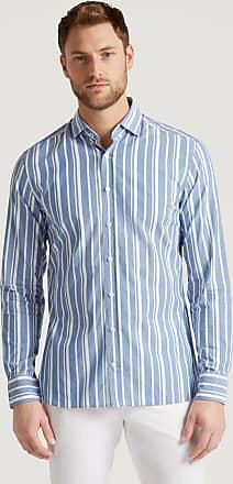 Hackett Mens Contrast Collar Stripe Cotton Shirt | Medium | Blue/White