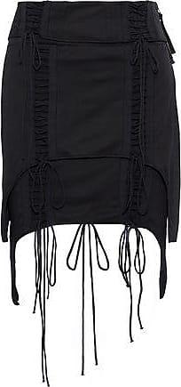 Helmut Lang Helmut Lang Woman Aviator Layered Lace-up Cotton-jersey Mini Skirt Black Size 0