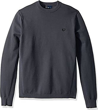 Fred Perry Mens Twin Tipped Crew Neck Jumper, Charcoal, Large