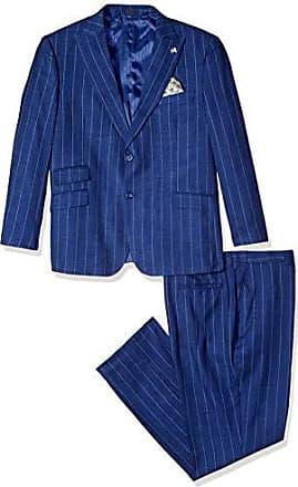 Stacy Adams Mens 3-Piece Peak Lapel Stripe Vested Suit, Navy, 38 Regular