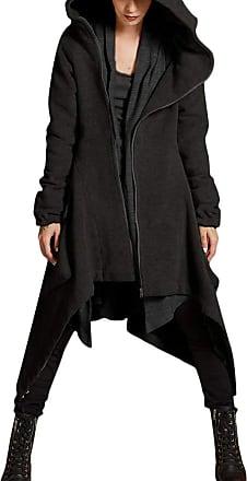 TOMWELL Womens Long Sleeve Irregular Hooded Hoodies Jumper Warm Cardigan Zip Up Jacket Sweatshirt Long Jacket Coat Black UK 12