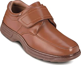 Cushion-Walk Mens Touch Fasten Wide Fit Shoe with Gel Pad Tan 7 UK