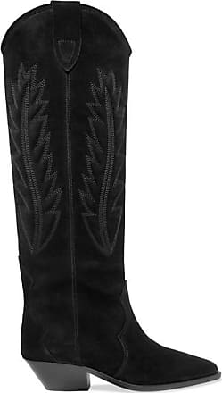 25b8c375829 Isabel Marant Denzy Embroidered Suede Knee Boots - Black