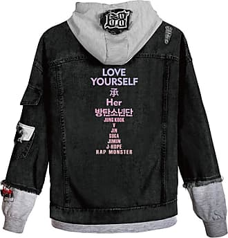 EmilyLe Ladies Love Yourself Hoodie Kpop BTS Map of The Soul Persona Jeans Outerwear Jin Suga J-Hope RM Jimin V Jung Kook (2XL, C Grey Cheng)