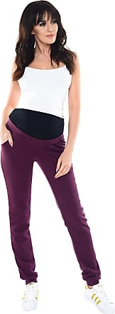 Purpless Maternity Pregnancy Trousers Under and Over Bump Joggers for Pregnant Women 1321 (14, Plum)
