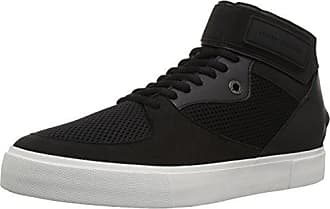 A|X Armani Exchange Mens High Top Sneaker with Ankle Strap and Mesh Detail, Nero, 7 M US