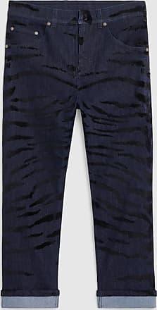 Neil Barrett Tiger Flock Print Denim Tube Leg Jean