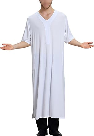 Zhuhaixmy Muslim Mens Dishdasha Islamic Kaftan Short Sleeve V-Neck Pure Color Robe Saudi Arabic Thobe Middle East Dubai Ethnic Clothing Kandoura,TH806 White