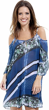 3f68cd181 101 Resort Wear Vestido Meia Manga 101 Resort Wear Saída Crepe Ciganinha  Listrado Azul