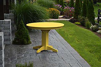 A & L Furniture A & L Furniture 4141W/OHOLE-LY Lemon Yellow Round Dining Table Without Hole, 44, Lemon Yellow