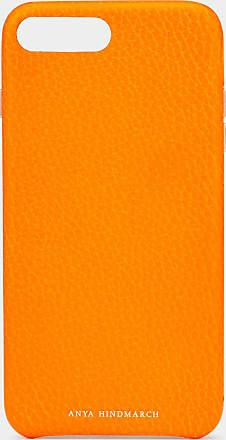 Anya Hindmarch iPhone 7/8 Plus Case Tumbled Calf in Neon Orange