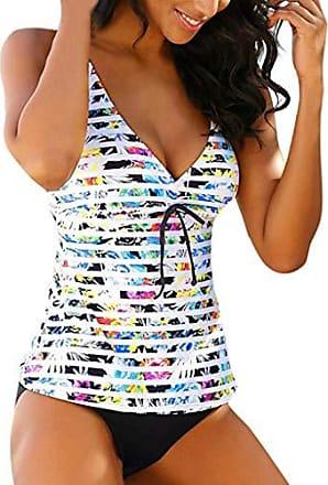 bbac33324c19c5 Fuibo Tankini Damen Frauen Sommer rückenfreie Streifen Bademode Beachwear  Siamese Badeanzug Bikini Set Badenanzug Swimsuit Zweiteilig