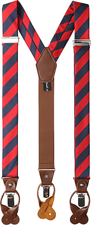 Jacob Alexander Mens College Stripe Y-Back Suspenders Braces Convertible Leather Ends and Clips - Red Navy