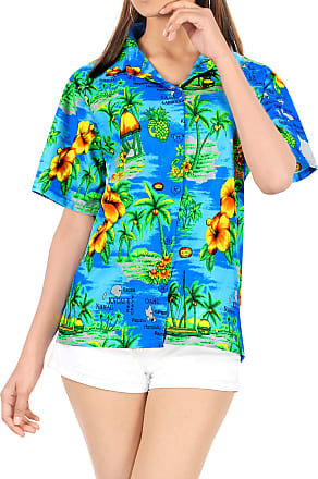 La Leela Womens Hawaiian Blouse Top Collar Short Sleeve Button Down V Neck Casual Work Yoga Shirt Summer Holiday M-UK Size:18-20 Teal Blue_W987