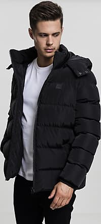 Urban Classics Mens Hooded Puffer Quilted Interior Padded Jacket with Elasticated Cuffs, High Neck Zipper, Removable Hoodie, Black, 5XL