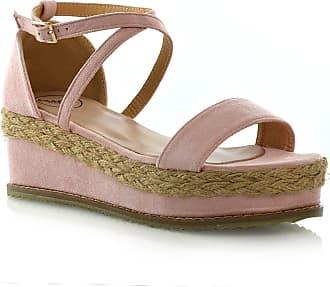 f283bebe575fe ESSEX GLAM Womens Flat Wedge Espadrille Ankle Strap Ladies Platform Summer Sandals  Shoes 3-8