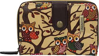 Swankyswans Classic Tree Owl Animal Print Bi-fold Wallet Beige