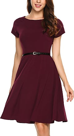 Zeagoo Womens Short Sleeve Dress - Claret - UK 12