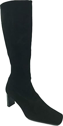 Peter Kaiser Ladies Womens Pull On Suede Leather High Heel Long Smart Casual Boots (8 UK, Blacksuede)