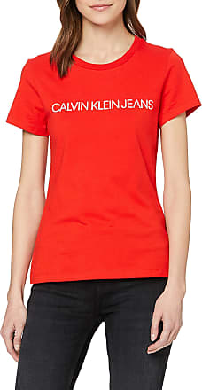 Calvin Klein Jeans Womens INSTITUTIONAL Logo Slim FIT TEE T - Shirt, Red (Fiery Red Xa7), 6 (Size:XS)
