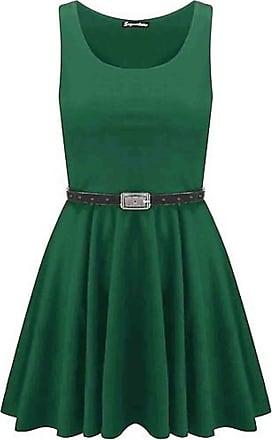 Momo & Ayat Fashions Ladies Belted Pleated Plus Size Franki Skater Dress Green