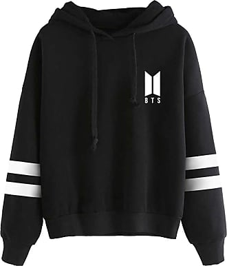 OLIPHEE Womens Kpop Fashion Hoodies BTS Idol Concert Support Cloth Fangirls Long Sleeves Stripes Pullover Jumper Suga Jin Jimin Jung Kook J-Hope Rap-Monster 9