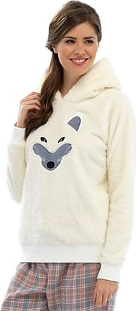 Foxbury Ladies Cream Fleece Hooded Snuggle Top with Fox Face Lounge Night Wear Medium