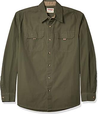 Wrangler mensZHELBLong Sleeve Canvas Shirt Long_Sleeve Button-Down Shirt - Green - XXXL