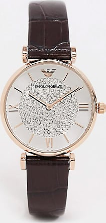 Emporio Armani leather watch in brown AR11269