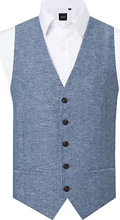Dobell Mens Light Blue Waistcoat Regular Fit Lightweight Linen-2XL (50-52in)