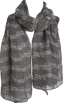 GlamLondon Music Print Scarf, Musical Note Printed Scarves, Ladies Soft Large Size Fashion Wrap Sarong Shawl (Grey Dark)