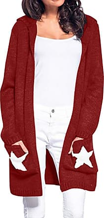 FNKDOR Women Long Sleeves Open Front Cardigan Knit Hooded Sweater Jacket Coat Outwear with Pockets(Red,XL)
