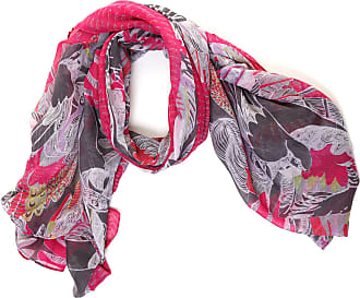 Hawkins Lightweight Parrot & Feather Print Scarf Shawl Wrap - Pink